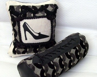 Stiletto and Corset Lacing Pillows / Geometric Black Gray Ecru Damask / Black Leather / Black Stiletto / Feminine Glam / OOAK Gift Under 80