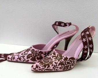Pink & Chocolate Brown Heels / Damask Ties, Hand Painted Floral Damask Shoes / OOAK Feminine Gift Under 100 / 7.5 US 38 Eur 5 UK 6 Aus