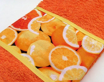 Orange Citrus Hand Towel / Tangerine - Orange - Lemon / Citrus Fruit / Orange Towel - Yellow Trim / OOAK / Gift Under 15