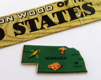 Nebraska Brooch - Lapel Pin / Upcycled Vintage 1961 Wood Puzzle Piece / Unique Wearable History Gift Idea / Timeless Gift Under 20