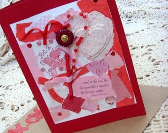 Thoughts of Love Card / No. 5 / Red - Pink - White / Hearts - Beads - Ribbons - Handmade Papers / Original OOAK Card
