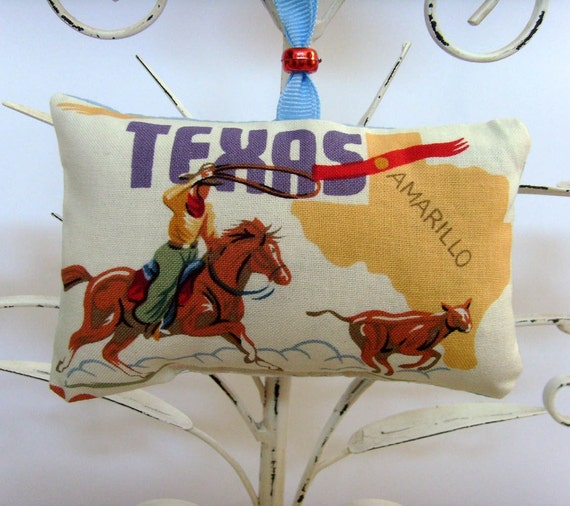 Route 66 Texas Ornament - Sachet / Fragrant Sachet / Cowboy Roping Calf  - Amarillo / Yellow - Red - Brown - Purple / Gift Under 15