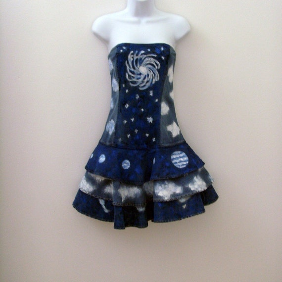 Astral Travel Denim Sundress / Cloud 9 / Hand Painted Wearable Art / Blue - White Clouds - Continents - Planets - Galaxy / OOAK Fashion