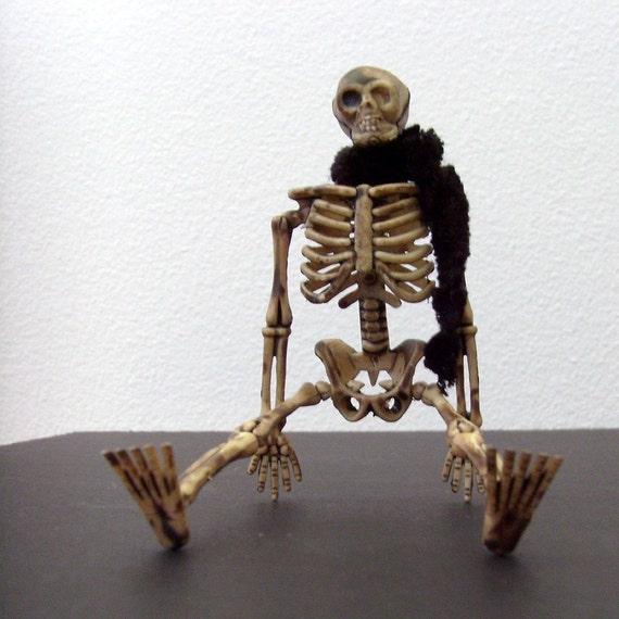 Skeleton Brooch - Lapel Pin / Black Chenille Scarf / Tan Skeleton Accessory / Halloween Brooch / Gift Under 20