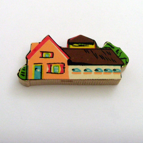 Village Exhibit Hall Brooch - Lapel Pin // Upcycled 1950s Dutch Wood Puzzle Piece // Orange - Brown