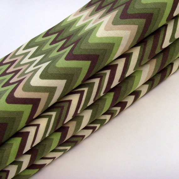 Green ZigZag Chevron Napkins // Beige - Green - Olive Green - Brown Cotton // Neutral Colorway // Set of 6
