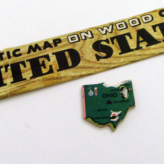 Ohio Brooch - Lapel Pin / Upcycled Vintage 1961 Wood Puzzle Piece / Unique Wearable History Gift Idea / Timeless Gift Under 20