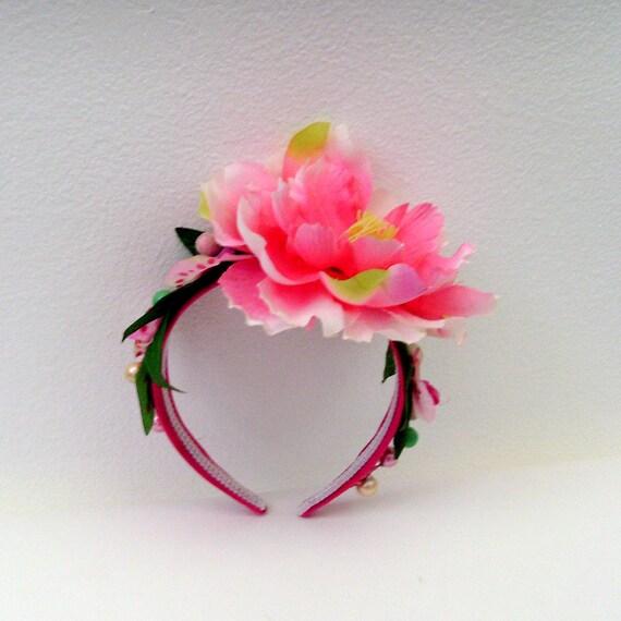 Bright Pink Floral Headband / Spring - Summer Fashion / Pink Flower - Green Leaves - Pearl Berries / Rose Pink Head Piece / OOAK