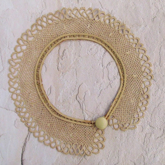 Beige Layered Fashion Necklace - Peter Pan Collar / Upcycled Antique Tatted Collar / Beige Suede - Vintage Silk Button / OOAK