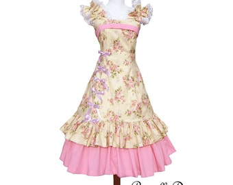 SALE Lolli Pop Princess Tea Dress Lolita Hime Garu Lolli Cake Inspired Bridesmade wedding Teaparty Pink Floral Sugar