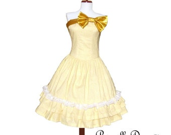 Custom in your color and fabric Choice Sunny Belgium Twirl Dress Bow vintage Inspired Ballroom Gown Sexy Retro Stylish