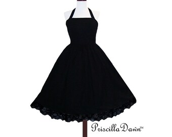 Summer Sale Little Black Classic Party Dress--Custom made to your size.