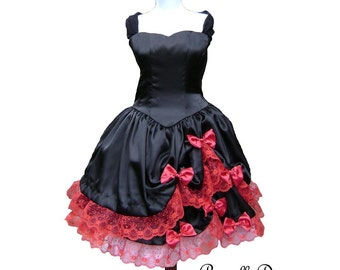 Divine Lace and Bows Alternative Wedding Dress Custom Made Color and Size Gothic Tea Dress