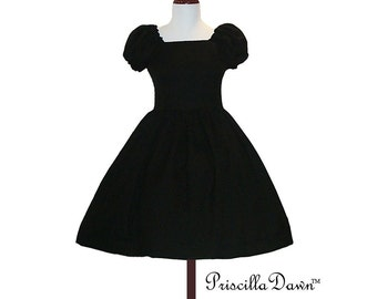 Custom Little Black Puff Sleeve Party Dress in YOUR size