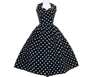 Custom in your size Polkadot Rockabilly Dress Vintage Inspired Halter neck line and full swing Skirt