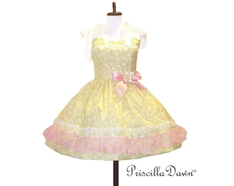 Custom in your size Pretty Yellow and Pink Teaparty Dress with Ribbons