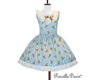 Summer saleTeddy Bears Ruffle Dress Cotton Tea Dress -----Custom in your size