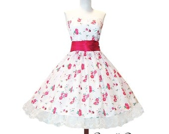 Summer Sale lovely white and roses dress custom made in new fabrics tea party style