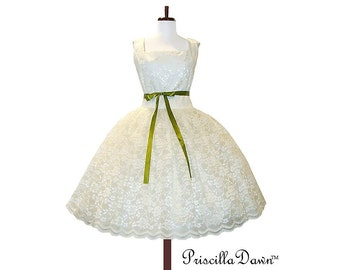 Summer Sale White or Cream CUSTOM in your SIZE Lavish Lace 1950s inspired Wedding Teaparty Dress