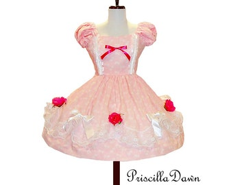Summer sale pink with roses Petite Fours Cake Dress Custom in Your  Size tea party dress