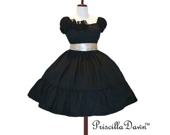 Summer Sale Tea Time Princess Black n Cream Puffed Sleeve Party Dress and Petticoat made to order