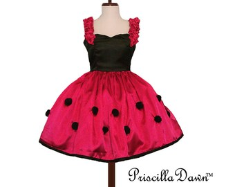 Summer Sale CUSTOM Lady Bug Red Dress in YOUR size Sassy dots dress Retro Rockabilly Skirt Satin