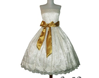 Summer sALE Ravishing Lacey Bridal Tea Dress. Custom in YOUR Size with many sash color choices Wedding Gown Lace.