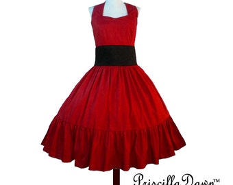 Summer Sale Custom in your size Red Rockabilly Swing Dress womens circle skirt halter dress 1950s style