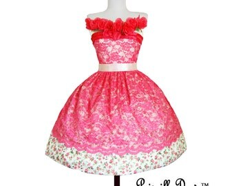 Summer Sale Birthday Tea-party Dress fairy tale whimsical lace and Roses----Custom in your size New Colors