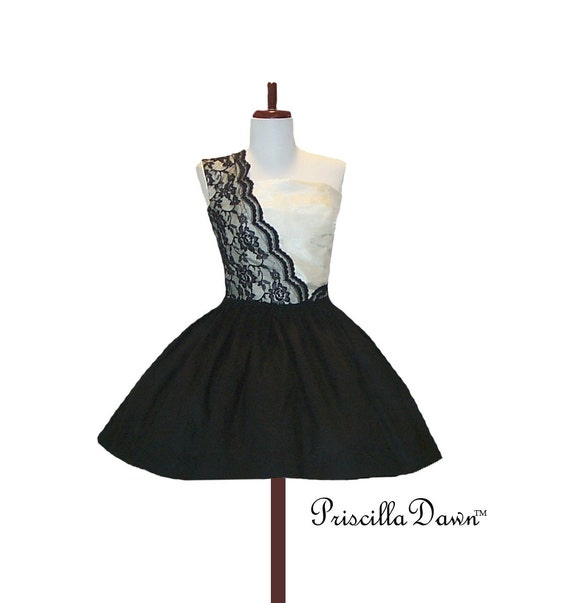 Sassy Sugar Diva in Lace Black and Cream Cocktail Dress Custom in your size
