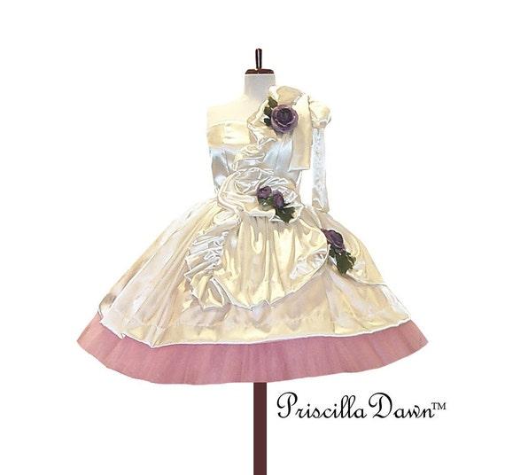CYBER MONDAY SALE Ready to ship Rasberry and Cream Ruffle Wedding/Prom Dress