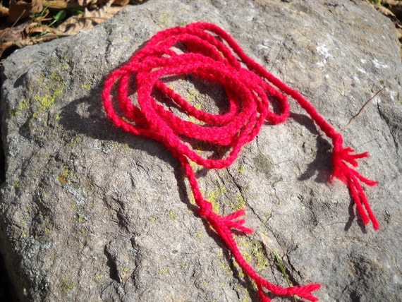 Witch's Red Cord (triple-braided wool Witch's ladder, initation cords, adoption)
