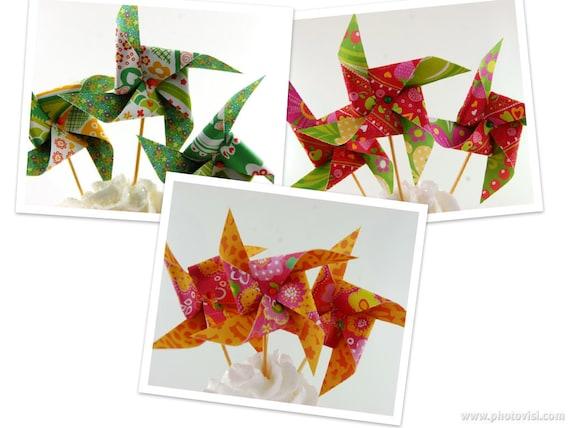 Fiesta Fun Collection Pinwheel Cupcake Toppers Set of 12 Choose Your Pattern