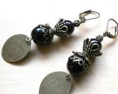 Gypsy earrings, Gift for her, Onyx earrings, dangle earrings, Black earrings, Bohemian jewelry