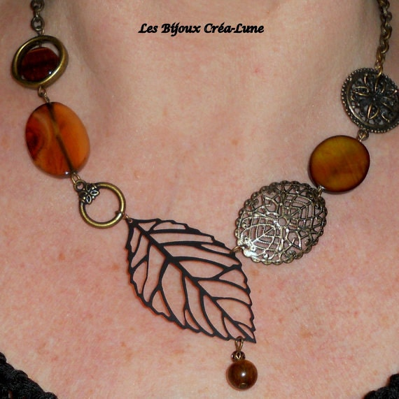 Antiqued brass earth tone asymmetrical filigree and leaf necklace, Boho chic woodland jewelry