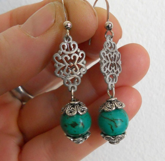 Green turquoise earrings, silver bubble and green turquoise dangling earrings, Boho chic jewelry
