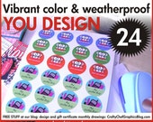 24 custom full color 1.5 inch round weatherproof waterproof glossy stickers labels YOU DESIGN