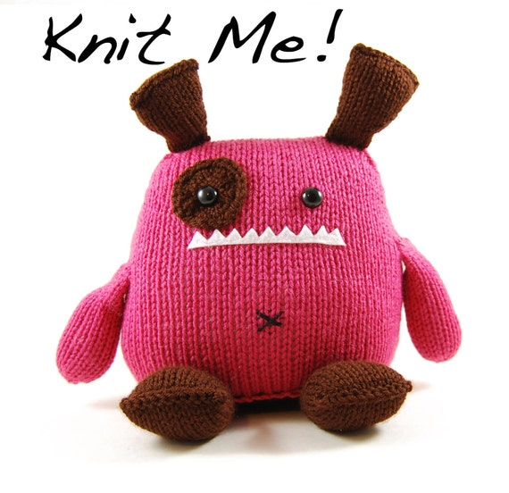 SALE Penelope Monster Knitting Kit in Pink and Brown