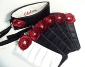 1 Pleated Wristlet in Black Satin w/Cranberry Red Poppy (choose your colors) Monogramming available