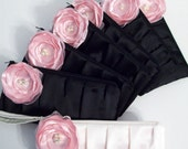 Set of bridesmaid clutches - 7 Pleated Clutches w/hidden wrist straps and Poppies (Choose your colors) Monogramming available