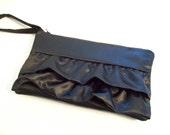 Ruffle clutch Clutch / wristlet w/Poppy (Monogram available)- Bridesmaid gifts, bridesmaid clutches, bridal purses, wedding party bags