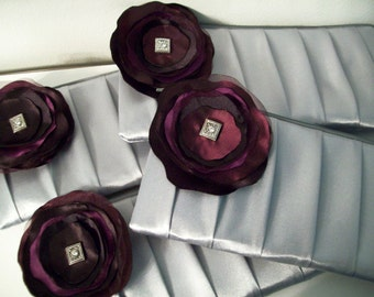 1 Pleated Clutch / wristlet w/Poppy (Monogram available)- Bridesmaid gifts, bridesmaid clutches, bridal purses, wedding party bags