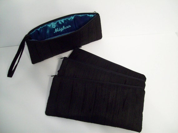 1 Pleated Clutch w/hidden wrist strap in Black Silk Dupioni (choose your colors) Monogramming available