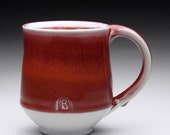 bright red and white porcelain mug - cup