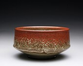 pottery bowl - serving bowl with iron red and olive green celadon glazes
