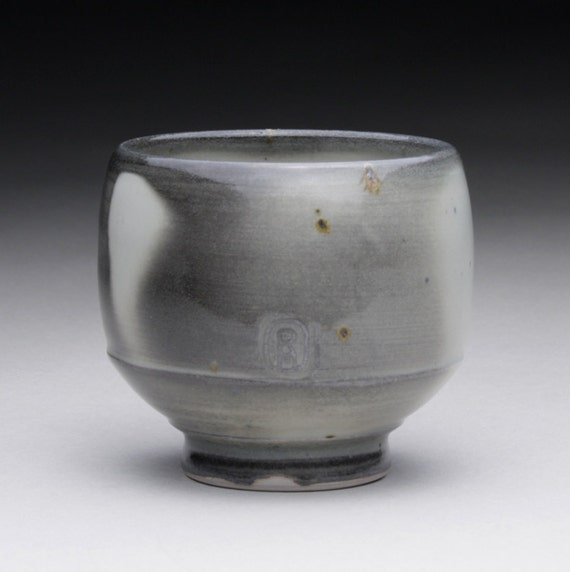tea cup - yunomi with charcoal gray and turquoise celadon