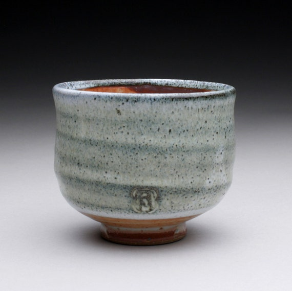 tea cup - yunomi with orange shino and wood ash glazes