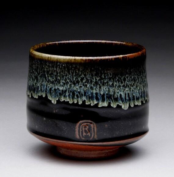 Tea Cup With Black Temmoku Wood Ash And Shino Glazes
