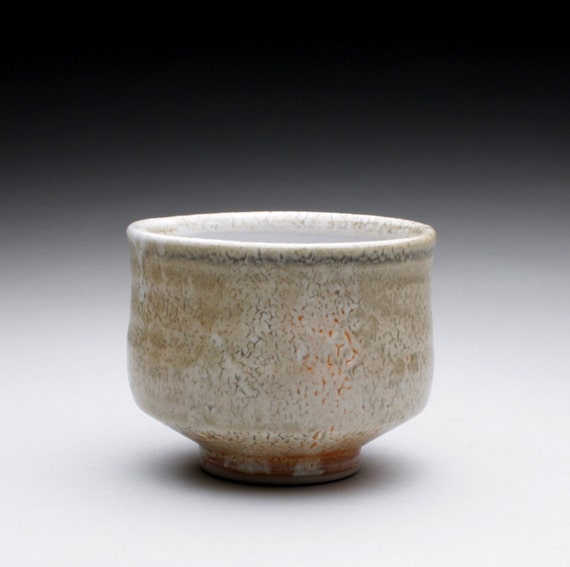 porcelain yunomi - teacup with light crackle shino and white shino glazes