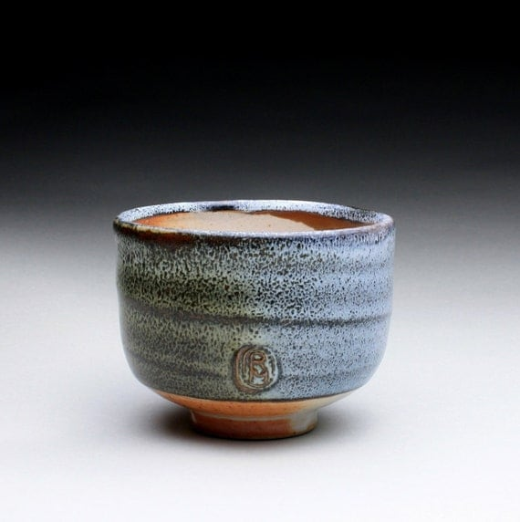 ceramic cup, tea bowl with orange shino and blue/green wood ash glazes
